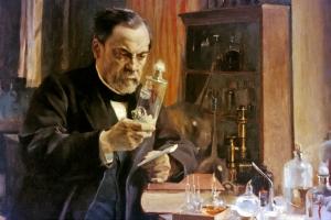 Louis Pasteur dans son laboratoire de l'Ecole normale supérieure, 1886.